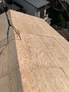 屋根軽量化工事 野地板葺き