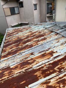 トタン屋根の捲り替え工事 施工前