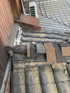 京都市伏見区にて瓦から立平葺への葺き替え工事 施工前